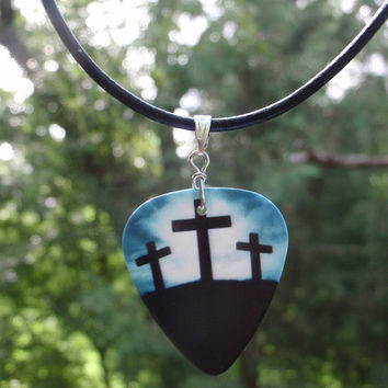 Religious Leather Necklace - Christian Guitar Pick Jewelry - Jesus, I Love Jesus, Crosses, Dove or Star of David - Custom Color & Size