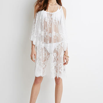 Open-Shoulder Eyelash Lace Dress