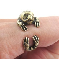 Three Toed Sloth Shaped Animal Wrapped Around Your Finger Ring in Brass