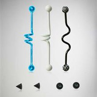 14 Gauge Black, White, and Blue Industrial Barbell 3 Pk