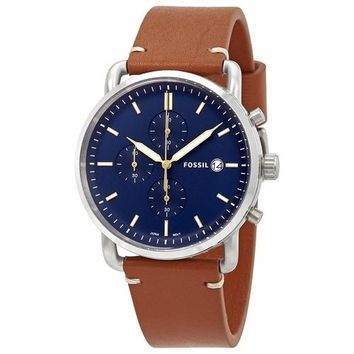 Fossil Mens FS5401 Chronograph Blue Dial Brown Leather Band Watch