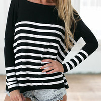 Black Striped Print Batwing Sleeve Knit Sweater
