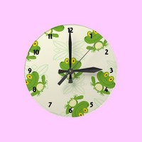 Frog Pattern Childrens Learning Wall Clock from Zazzle.com