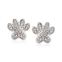 Ross-Simons - .10 ct. t.w. Diamond Paw Print Stud Earrings in Sterling Silver - #812670