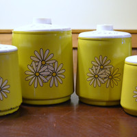Retro Metal Kitchen Canisters Yellow with White Daisies Kromex Flower Power PanchosPorch