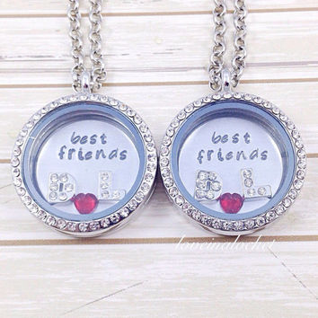 Best Friends Lockets, Matching Best Friends Floating Lockets, Best Friends Necklaces, Best Friends Christmas Gift, BFF Floating Locket