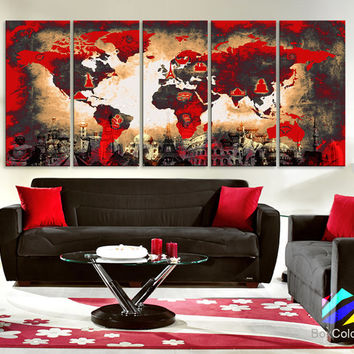 "XLARGE 30""x70"" 5Panels Art Canvas Print Original Wonders of the world Old Paper Map Red Yellow Wall decor Home interior (framed 1.5"" depth)"