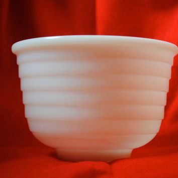 Vintage Milk Glass White Ribbed Vintage Mixing Bowl