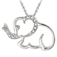 Sterling Silver Diamond Accented Elephant Necklace 18""