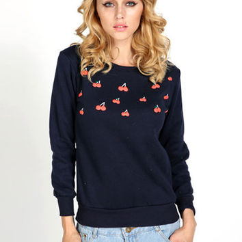 Cherry Printed Loose Fleece Sweatshirts