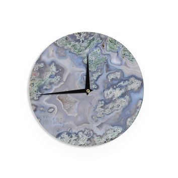 "KESS Original ""Pastel Geode"" Blue Teal Wall Clock"