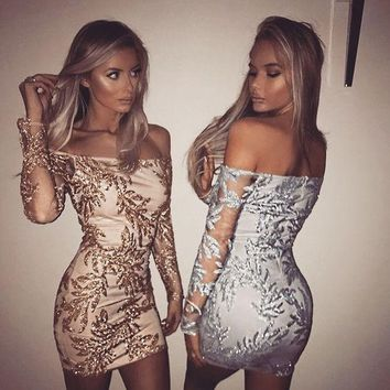 ONETOW Strapless Sequin Embroidery Long Sleeve Bodycon Mini Dress