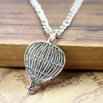 Hot Air Balloon Necklace - Silver Jewelry, Hot Air Balloon, Bow, Antique Silver, Long Necklace