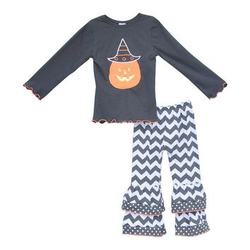 New design Baby Child Halloween Outfit Cotton Pumpkin Hat Top Chevron Stripes Double Ruffle Pants Girls Fall Clothing H004