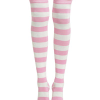Blackheart Cream & Pink Striped Over-The-Knee Socks