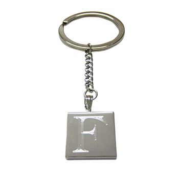 Letter F Etched Monogram Pendant Keychain