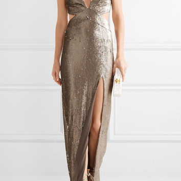 Halston Heritage - Cutout sequined stretch-jersey gown