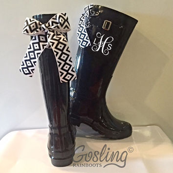 Festival Style, Rain boot, Black, Diamond, Bows