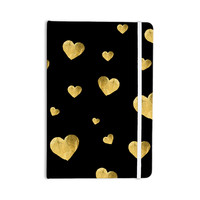 "Robin Dickinson ""Floating Hearts"" Gold Black Everything Notebook"