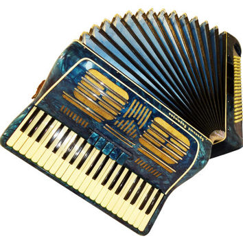 Piano Accordion Instrument Russian Red Partisan, 120 Bass, 7 Registers, Case, 422