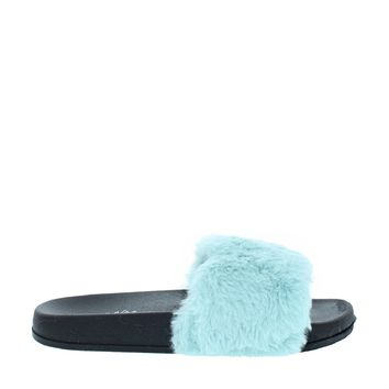 Fluffy Slipper Slide (BLUE)
