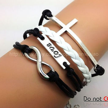 Cross  Love &Infinity Wish Bracelet  Black Rope and White leather Fashion Personalized Adjustable Bracelet 2144S