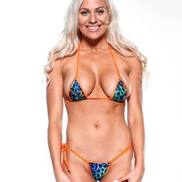 Jewel Tone Animal Print Sexy Small Scrunch Butt Bikini 3pc Micro Mini w Orange