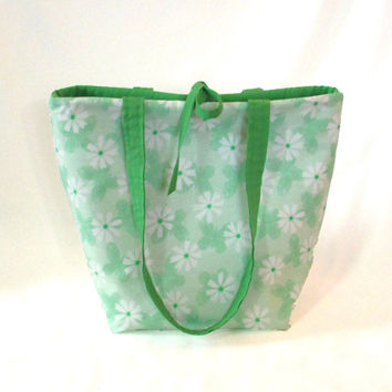 Green Butterfly Tote Bag,  Floral Purse, Cloth Purse, Handmade Handbag, Green Butterflies, White Flowers, Fabric Bag, Shoulder Bag,