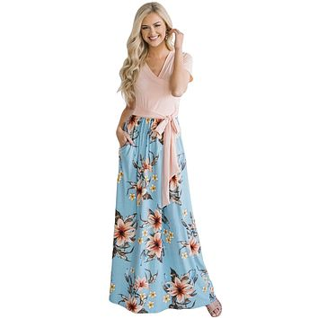 Pink Blue Floral Pocket Style Long Summer Dress