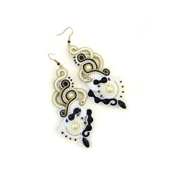CHRISTMAS SALE 30%, Soutache Earrings, Black Gold, Bridal Earrings, Dangle Earrings, Beaded Earrings, White Black, Gold Earrings