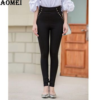 Ladies Slimming Pencil Pants Autumn Women New Fashion Ladies High Waist Winter Casual Trousers Pants with Zipper