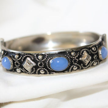 Vintage Bangle Bracelet, Silver Moonstone Bracelet,  1960s Jewelry