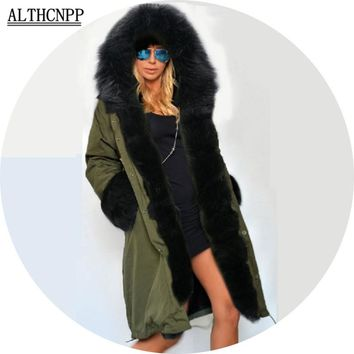Winter Coat Women 2017 New Parka Casual Outwear Military Hooded Thickening Cotton Coat Winter Jacket Fur Coats Women Clothes