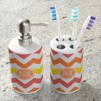 Monogram: Citrus Chevron Pattern Bathroom Set