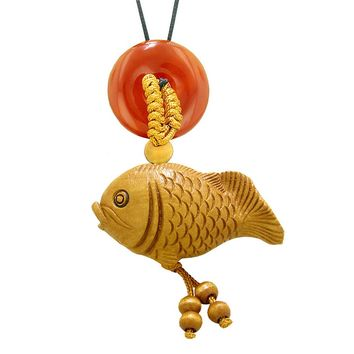 Fortune Cute Fish Car Charm or Home Decor Carnelian Lucky Coin Donut Protection Powers Magic Amulet