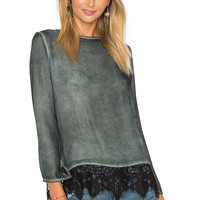 YORK street Lace Back Blouse in Peacock | REVOLVE