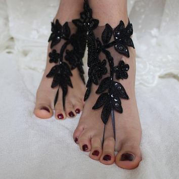 Black Lace Barefoot Sandals, french lace, Nude shoes, Gothic, Foot jewelry,Wedding Shoes Victorian Lace, Lace Anklet ,Lace Barefoot Sandals