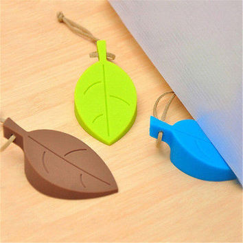 Silicone Leaves Decor Design Door Stop Stopper Jammer Guard Baby Safety Home HU