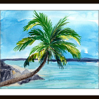 Coconut Palm At The Beach Seascape in Watercolors- Original Art PRINT,Nautical,Cool colors,Home Decor,Palm Tree , Home and Living,Wall Art