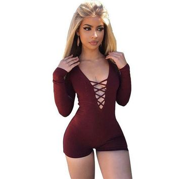 CREYLD1 Sexy Deep V Neck Lace Up Rompers Womens Jumpsuit 2018 Bodycon Long Sleeve Playsuit Bandage Bodysuit Macacao Feminino
