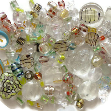 125 Pcs. Assorted Clear Transparent Multicolor Beads Pendants Lampwork Glass Acrylic Jewelry Making Crafts