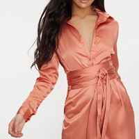Copper Satin Tie Waist Shirt Dress