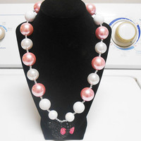 Minnie Mouse Pearl Pink and Pearl White Bubblegum Gumball Chunky Necklace