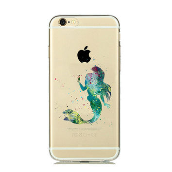 Green Ariel (DISNEY the Little Mermaid) Watercolor Silicone Case for iPhone 7 7plus 6 6S plus 5 5SE