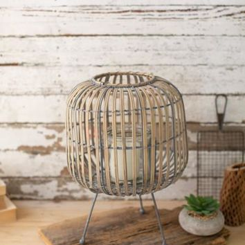 Oval Willow Lantern On A Stand - Large