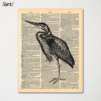 Vintage Heron Print on Dictionary Page / Nature Wall Art / Hand Drawn Cabin Decor
