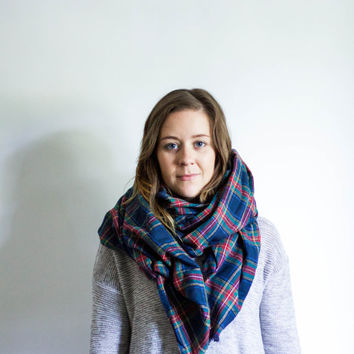 Plaid Blanket Scarf Fringe Flannel Wrap | TAKE A HIKE