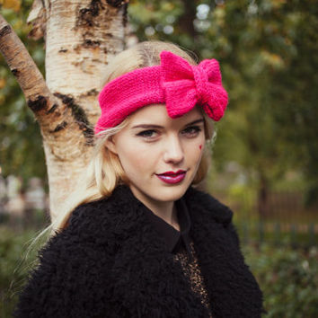 Knitted Bow Headband, Glitter Knitted Headband, Knit Headband, Cute and Cosy Ear Warmer in Sparkly, Glitter Hot Pink