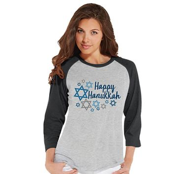 Happy Hanukkah Shirt - Ladies Hanukkah Baseball Tee - Happy Hanukkah Outfit - Hanukkah Gift Idea - Family Holiday Shirts