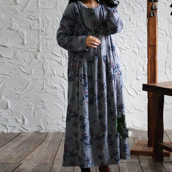 SCUWLINEN 2017 Spring Autumn Women Dress Vintage Print Long Sleeve Plus Size Maxi Long Loose Cotton Linen Dress Vestidos S172